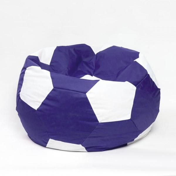 Кресло мяч велюр бело-синий